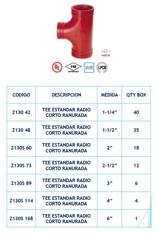 Tee Estandár Radio Corto Ranurada