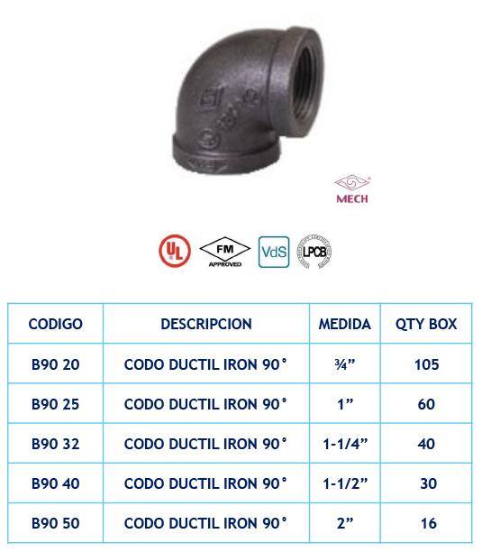 Codo Ductil Iron 90º