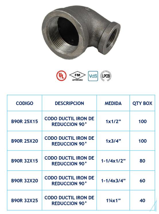 Accesorios de Hierro para Sistemas contra Incendio - Ductil Iron de Reducción de 90º